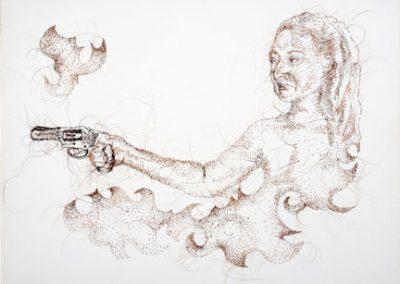 La Gancha #3, Hand-sewn Human Hair on Canvas, 2012