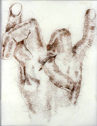 Keep Your Fingers Crossed, 2006, hand-sewn human hair